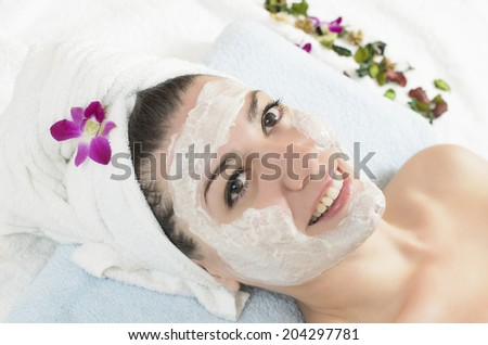 Attractive young woman getting a facial mask in the beauty spa - stock photo