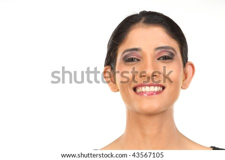 Attractive young  woman getting ready for spa treatment, isolated on white