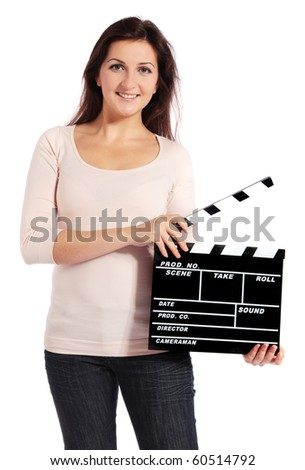 Attractive young woman holding a slate. All isolated on white background.