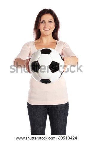 Attractive young woman holding a soccer ball. All isolated on white background.