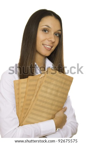 Attractive young woman holding sheet music old sheet. Isolated on white background - stock photo