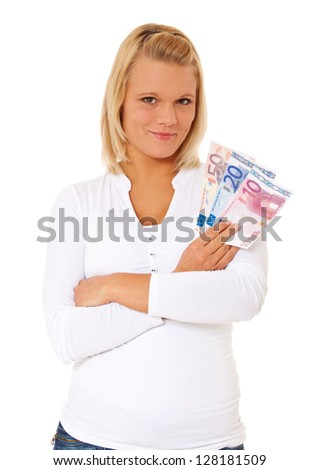 Attractive young woman holding various euro notes. All on white background.