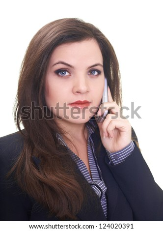 Attractive young woman in a black jacket talking on a mobile phone. Isolated on white background