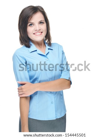 Attractive young woman in a blue blouse. Isolated on white background