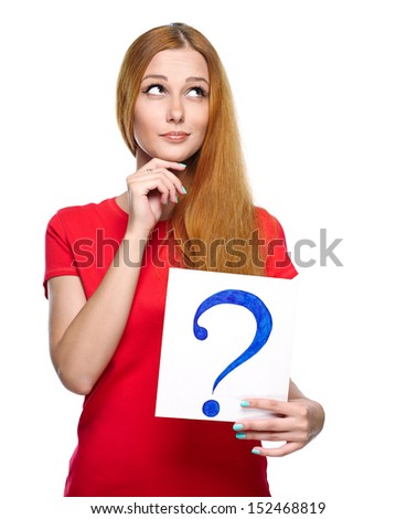 Attractive young woman in a red shirt. Holds a poster with a big question mark. Isolated on white background - stock photo