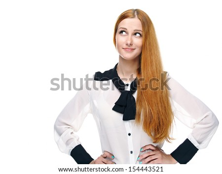 Attractive young woman in a white blouse. Looking into the upper-right corner. Isolated on white background - stock photo