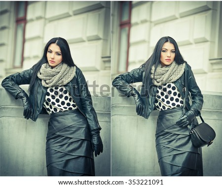 Attractive young woman in a winter fashion shot. Beautiful fashionable young girl in black leather on avenue. Elegant long hair brunette with handbag and scarf in urban scenery. - stock photo