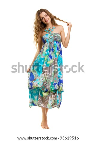 Attractive Young Woman in Bright Blue Dress - stock photo