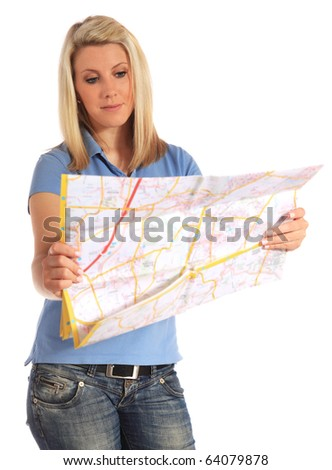 Attractive young woman looking at a map. All on white background.