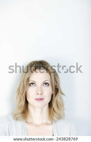 woman looking straight up
