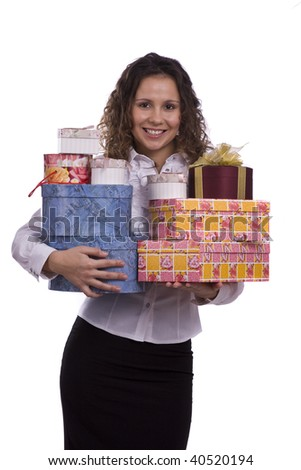 Attractive young woman on a white background holding gift box. Beautiful girl with some presents - stock photo