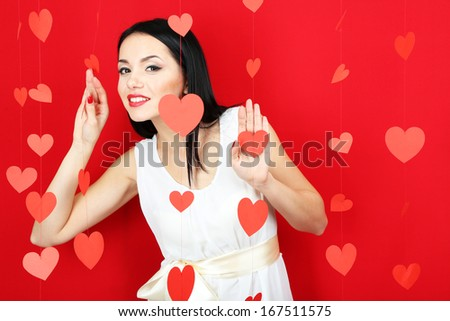 Attractive young woman on Valentine Day - stock photo
