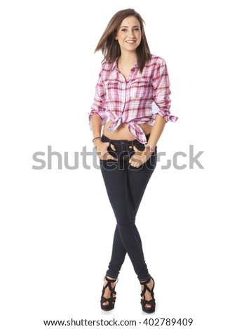 attractive young woman posing in white background - stock photo