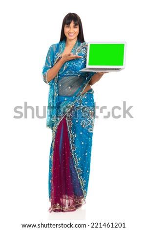 attractive young woman presenting laptop computer - stock photo