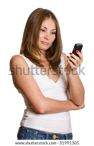 attractive young woman reading sms, isolated