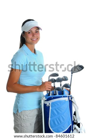 Attractive young woman selecting a golf club from golf bag. Girl is smiling at the camera isolated over a white background.