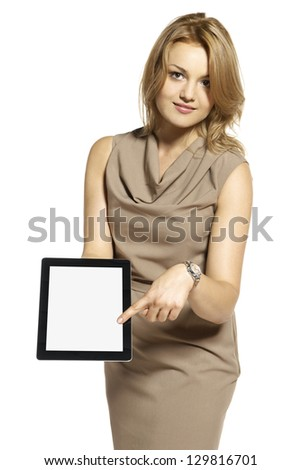 Attractive young woman showing something on digital tablet. - stock photo