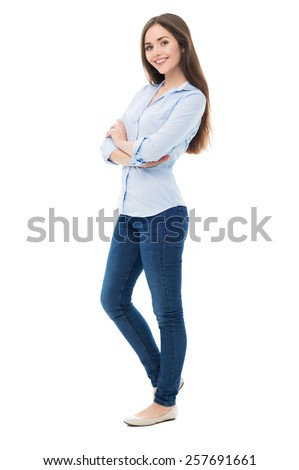 Attractive young woman standing - stock photo