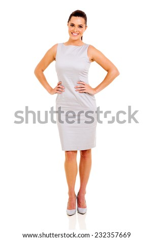 attractive young woman standing on white background - stock photo