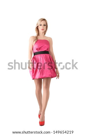 Attractive young woman studio portrait isolated on white background - stock photo