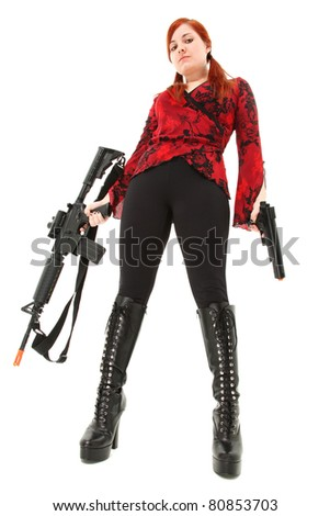 Attractive young woman teen with Pellet Air Rifle and Handgun over white.
