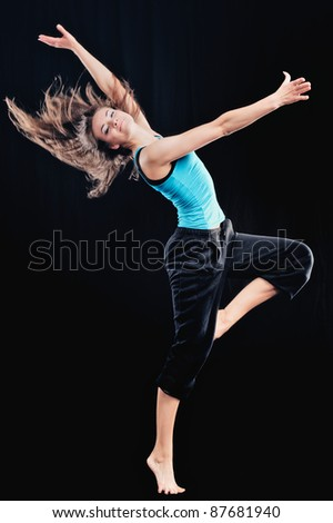 Attractive young woman to training of fitness exercise - stock photo
