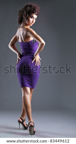 Attractive young woman walk in sexy cloth - stock photo
