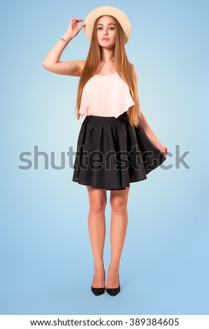 Attractive young woman wearing hat. Fresh summer portrait - stock photo