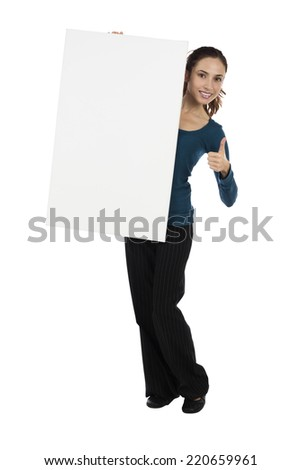 Attractive young woman with a blank placard for advertisement - stock photo