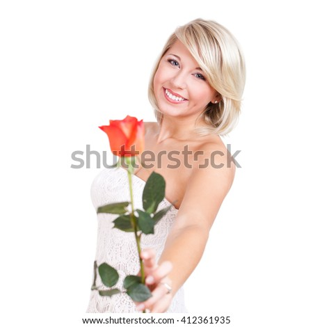 attractive young woman with a rose isolated on white - stock photo