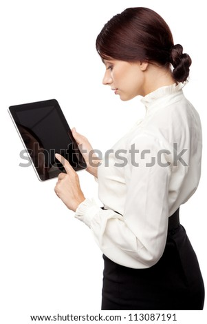 Attractive young woman with a tablet pc, white background - stock photo