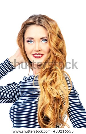 Attractive young woman with beautiful long hair. Isolated over white background. Copy space. - stock photo