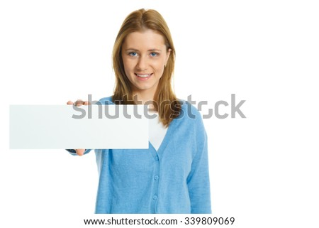 attractive young woman with blank ad banner