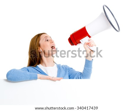 attractive young woman with blank ad banner and megaphone - stock photo