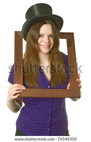 Attractive young woman with  Chapeau Claque isolated on white background - stock photo