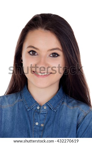 Attractive young woman with cowboy shirt isolated on a white background - stock photo