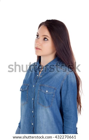 Attractive young woman with cowboy shirt isolated on a white background