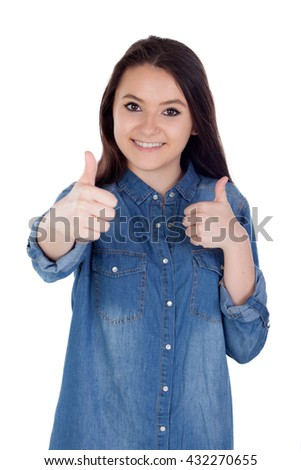 Attractive young woman with cowboy shirt isolated saying Ok - stock photo