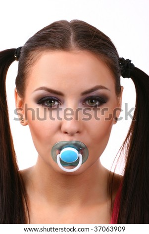 attractive young woman with dummy isolated on white background - stock photo