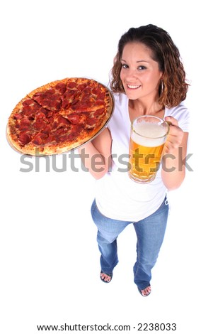 Attractive Young Woman With Food and Drink - Pizza and or Beer