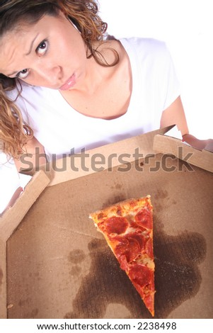 Attractive Young Woman With Food and Drink - Pizza and or Beer - stock photo