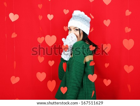 Attractive young woman with heart on Valentine Day - stock photo