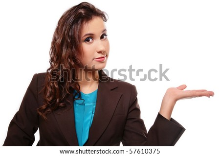 Attractive young woman with inviting gesture on white background