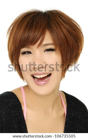 attractive young woman with mouth open in shock-closeup - stock photo