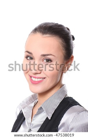 attractive young woman with pretty smile on white - stock photo