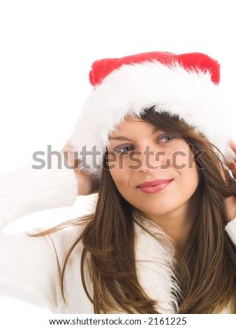 Attractive young woman with Santa Claus hat - stock photo