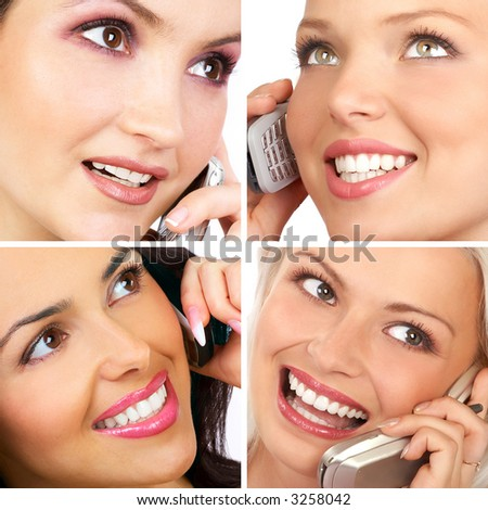 attractive young women calling by cellular phone. - stock photo