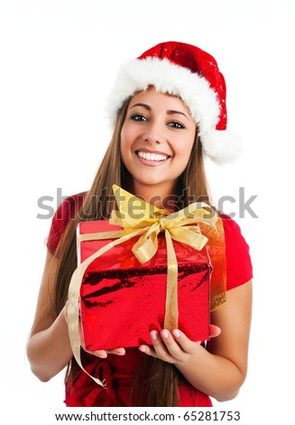 attractive young women with the gift - stock photo