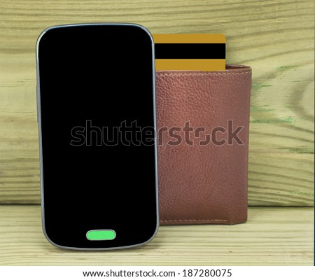 Attributes for mobile payments - conceptual image with wood background