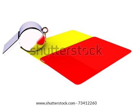 Attributes of a football referee: yellow and red cards, a whistle on a white background - stock photo